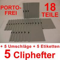 5 Cliphefter Bewerbungsmappen + 5 Umschläge + 5 Eti's - GRAU - Set Bewerbung