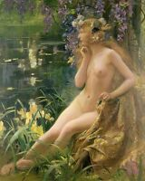 Art Oil painting naked Blonde girl with purple and yellow flowers Hand painted