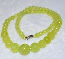 6-14mm green Peridot Round Beads Gemstone Necklace 18 inch JN53