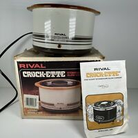 VTG Small RIVAL CROCK-ETTE STONEWARE SLOW COOKER 1 QT MODEL 3205 Crock Pot