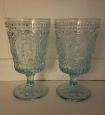 Vintage Style Blue Easter Bunny Knobby Footed Drinking Glasses Set of 2 Hobnail