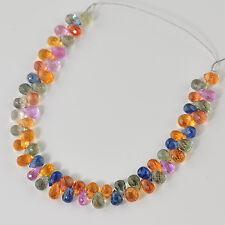 Gem Multi Sapphire Faceted Petite Teardrop Briolettes Bead 4 inch strand