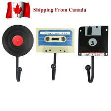 Retro Vintage Music Tape Disk Record Wall Rack, Decorative Wall Hook, Coat Rack,