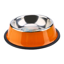 Pets Cat Dog Puppy Anti Skid Stainless Steel Feeding Food Drink Bowl Plate DH Orange XS 15cm