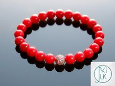 Red Coral Rose Gold Micro Pave Gemstone Bracelet 7-8'' Elasticated Healing Stone