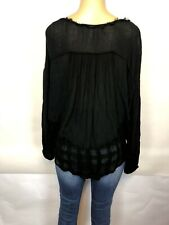 Free People Black Lace Dolman Sleeve Boho Tee Long Sleeve Top Womens Size S NEW!