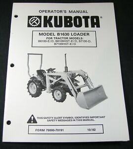 Kubota B1630 Loader For Tractor B6100ED B6100HST B7100D B7100HST Operator Manual