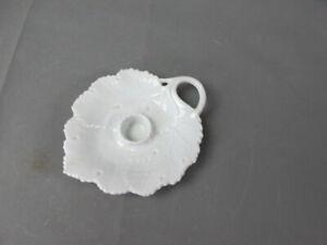 Alt Fürstenberg Porzellan Kerzenständer Blatt Kerzenhalter weiß Relief  #P1