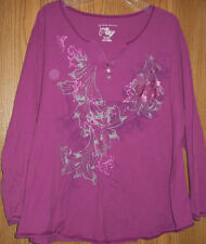 Purple Floral Long Sleeved T-shirt 4X JMS Just My Size
