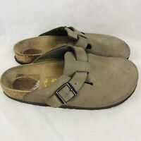 Birkenstock Brown Leather Clogs Unisex Size 40 Womens 9 Mens 7 Open Toe Shoes