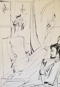 Ink drawing on paper, japanese couple