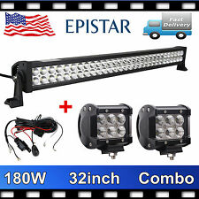 32Inch 180W LED Combo Light Bar Fog Offroad+2X 4'' 18W Flood Pod+Free Wiring kit