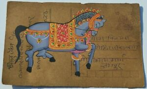 A NICE OLD RAJASTHAN MINIATURE PAINTED INDIAN POSTCARD OF A  HORSE  , 17