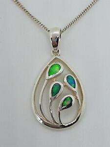 Vintage 925 Sterling Silver Opal Leaf Pendant Necklace