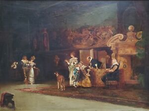 DUPUY 19th Century (1870) Antique Oil Painting on Board, Signed, Ballroom Scene