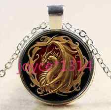 Vintage Dragon Cabochon Tibetan silver Glass Chain Pendant Necklace #1942