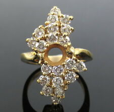Estate 1.60ct Diamond & 14K Yellow Gold Semi Mount Cluster Ring for 5mm Stone