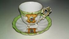 MADE IN OCCUPIED JAPAN FOOTED TEA CUP AND SAUCER GREEN AND GOLD~~