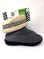 ISOTONER Woodlands Womens Sz 9.5 - 10 Gray Furry Slipper Shoes w/ Memory Foam XL