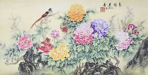 100% ORIENTAL FINE ART CHINESE WATERCOLOR PAINTING-Birds lover&Peony flowers