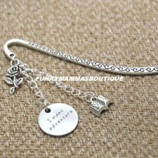 BEAUTY AND THE BEAST I WANT ADVENTURE CHARMS SILVER BOOKMARK BELLE IN GIFT BAG