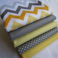 Grey and yellow chevron plain pinstripe spots boy girl fabric bundle