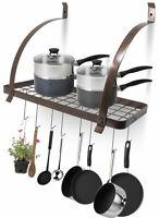 Nice Pot Pan Rack Shelf Kitchen Organizer Bronze Wall Mount Storage w/ 10 Hooks