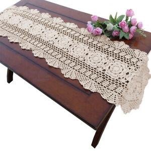 Vintage Hand Crochet Lace Table Runner Mats Doilies Desktop Cover Wedding Party