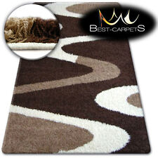 BEAUTIFUL AND VERY SOFT SHAGGY RUGS 'ZENA' dark brown beige FLUFFY CHEAP CARPETS