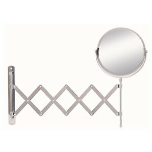 Vasari Round Wall Mounted Reversible 2x Magnifying Shaving Mirror 170mm x 170mm