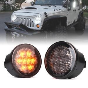 Xprite Smoke Lens LED Turn Signal Lights Assembly for 2007-2018 Jeep Wrangler JK