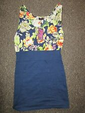 BNWT Motel TopShop Dress M 12-14 Bodycon Loose Top Floral Pattern Blue Casual
