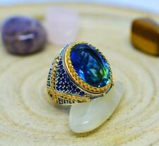 Fabulous Turkish Vintage Handmade Design With Blue 15.86CT Sapphire Men's Ring