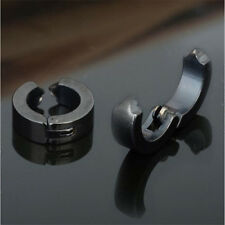 2pcs Punk Stainless Steel Mens Clip on Ear Stud Hoop Non-Piercing Earrings Retro
