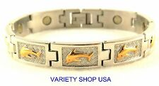 Stainless Steel with 18k Gold Plate Silver Dolphin Magnetic Bracelet SS45742T
