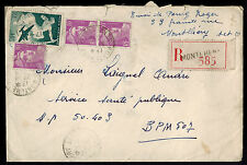 FRANCE 1949 MULTI FRANKED REGISTERED COVER **MONTLHERY TO POSTES AUX ARMEES