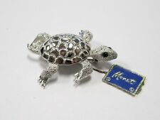 Vintage Monet Sea Turtle Brooch - Green Stone Eyes - New With Hang Tag - Mint