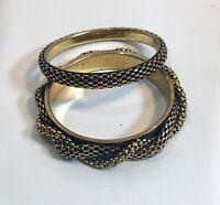 Vintage Lot 2 Black And Gold Tone Textured Bangles Bracelet