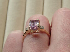 Rare 2.75Ct Minas Gerais Kunzite & Diamond 10K Yellow Gold Ring Size R-S/9
