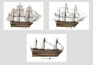 HMS Victory British warship Nelson Profile Artwork A5 / A4 Print ship navy