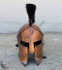 Historical Medieval Spartan Helmet Brass With Red PLume Marine Maritme Halloween