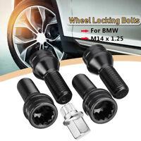 4pcs Car Wheel Locking Bolts Lug Nut M14 x 1.25 + Key For BMW Mini R50 R52 R53