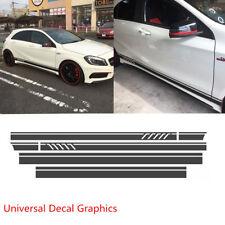 Universal Matte Black Car Body Side Stripe Skirt Roof & Hood Vinyl Decal Sticker