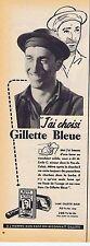 PUBLICITE ADVERTISING 114 1953 BLUE GILLETTE lames de rasoir