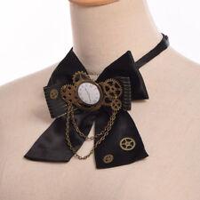 Victorian Steampunk Gear Clock Bowtie Fancy Dress Party Black Costume Bow Tie