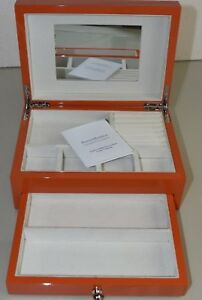 NEW Reed & Barton Citrus Hermes color Orange High Gloss JEWERLY Box CHEST Drawer