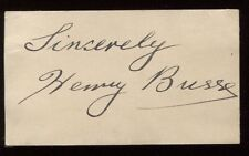 Henry Busse  Signed Card  Autographed Authentic Signature Bandleader Comoposer