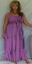 purple dress sleeveless wrap belt lycra tie dye dress fits m l xl 1x and 2x