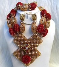Bold Latest New Design Dark Red & Gold Wedding Bridal African Beads Jewelry Set