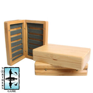 Bamboo Wooden Fly Box with Slit Foam.  Holds 168 Flies - NEW
